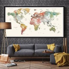 World Map Watercolor World Map | Large World Map Large | World Map Poster | Large Wall Art | World Map Wall Art | World Map Print ------------------------------------------------------------------------------------------------ Available sizes are shown in the SELECT A SIZE drop down