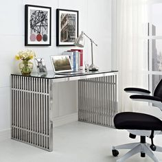Modway Furniture Modern Gridiron Stainless Steel Office Desk in Silver Contemporary Office Desk, Modern Desk, Mid Century Modern Furniture, Home Office Desks, Office Furniture, Steel Furniture, Furniture Ads, Furniture Cleaning, Furniture Websites