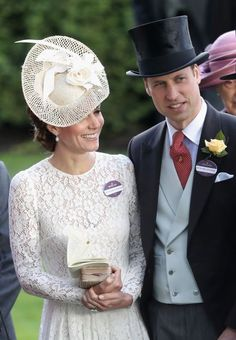 June 20, 2017 ~ Prince William, Duke of Cambridge and Catherine, Duchess of Cambridge at Day 1 of Ascot in Ascot, England.