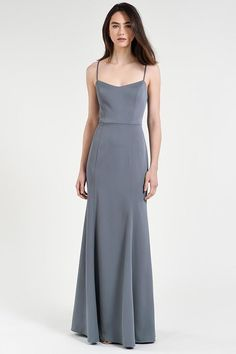 The Aniston dress is a sleek fit and flare silhoutte with a playful vintage spaghetti strap scoopneck in our glamorous and figure hugging Luxe Crepe. Princess seams on the bodice create modern clean lines and a fitted silhouette that compliments the el Dark Grey Bridesmaid Dresses, Grey Bridesmaids, Grey Gown, Look Chic, Spring Dresses, Dress Summer, Ukraine, Elegant, Fashion Dresses