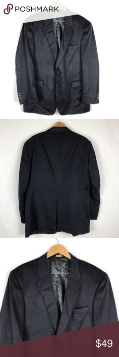 """Jos A Bank Cashmere Blazer Men Suit Jacket Jos A Bank  Size  48 L  Total Length 32.5""""  Sleeve Length 26""""  Underarm to Underarm 27""""  100% Cashmere  Pre Owned   Navy Blue. Lined  Great Shape No Holes Stains or Fading  N Jos A Bank Suits & Blazers Sport Coats & Blazers"""