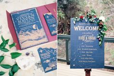 hand-illustrated, celestial themed invitation suite and welcome sign adorned with florals, for a whimsical New Years Eve wedding for a creative couple wanting their wedding day to be unique and different, photographed by Austin-based wedding photographers Feather & Twine