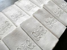 Antique french linen damask napkins...monogrammed of course! by judith