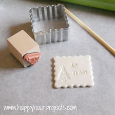 """Polymer Clay Gift Tags.... I think I would rather do initials instead of """"to and from"""" that way they can double as personalized ornaments."""