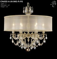 """ABC CH6522-A-LN-04G-PI-PG Llydia Collection Chandeliers Lites: 6 Diameter: 24"""" Body Length: 22"""" Finish: 04G ~ Antique White Glossy Crystal Package: Precision Effects french Pendaloque in Golden"""