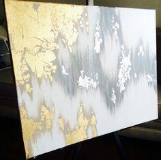 Abstract Acrylic Painting silver and gold with by TangledUpArtShop
