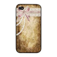 SOLD: Vintage Pearls and Lace iPhone Snap Case    A gorgeous vintage design featuring pink ribbons, cream lace and white pearls and beads on a 'distressed' brown and cream background.  $21.99