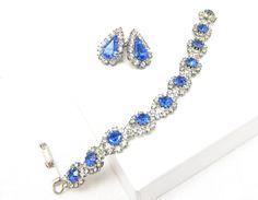 Blue Rhinestone Clear Bracelet Silver Tone by TreasureTrovebyTish