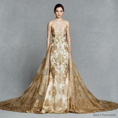 kelly faetanini bridal spring 2017 strapless sweetheart fit flare wedding dress (gwendolyn) fv gold color embroidery train detachable overskirt