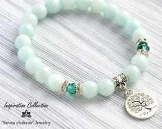 Amazonite 6mm Bead bracelet women Gift for her Beaded Hamsa