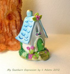 Miniature OOAK Cottage Fairy House Blue by MySouthernExpression, $10.00
