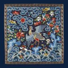 Badge de rang civil en satin brodé, buzi. Chine, dynastie Qing, XIXeme siècle. Photo: Christie's Images Ltd 2012