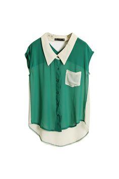 Hollowed Back Green Chiffon Shirt