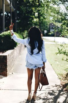 Memorial Day Outfit || Red, White, and Blue, J.crew, Steve madden, Michael Kors, Fashion Blogger, Petite Style, Jean Shorts, Jean cut offs