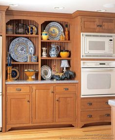 #Kitchen Idea of the Day: A Victorian kitchen hutch in quartersawn oak with open shelves and a beadboard back panel. Victorian kitchens. (By Crown Point Cabinetry)