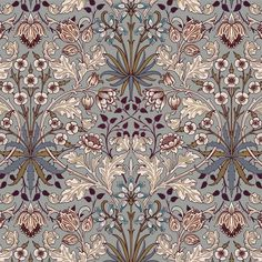 As part of the House of Hackney x William Morris collection, the 'Hyacinth' print is reimagined and remastered. The Art Nouveau design features plant formations block-printed onto paper - a William Morris signature. Print Wallpaper, Home Wallpaper, Wallpaper Roll, Pattern Wallpaper, William Morris Wallpaper, Morris Wallpapers, Motif Art Deco, Art Nouveau Design, Textile Prints