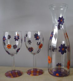 Hand Painted Purple/Orange Flowers Glass Wine Carafe and Two Glasses