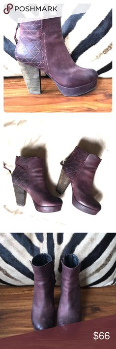 Steve Madden Wine Leather Platform Booties Gorgeous booties in a beautiful burgundy distressed leather. Back zippers and seaming detail on back. Distressed stacked heel has a brownish grayish color. Super comfy and very cute. Slight platform. Worn maybe 3 times. See photos for measurements and details. Steve Madden Shoes Ankle Boots & Booties