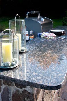 Outdoor counters in Sapphire Blue granite with eased edges. Blue Granite, Blue Sapphire, New England, Eco Friendly, Summertime, Traditional, Outdoor, Outdoors, Outdoor Games