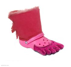 No They did not...  Or did they? Is this shoe even real? Pink crocs with toes and fur. What were they thinking?