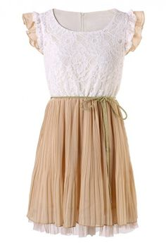 Lace Pleated Dress With Belt In Nude Pink