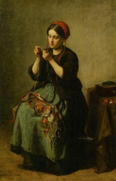 Paysanne enfilant une aiguille 1861, par Jules Breton