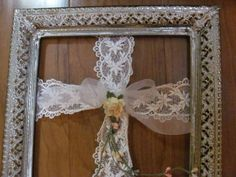 Easter Wreath...Ornate Picture Frame with Lace Cross Wreath
