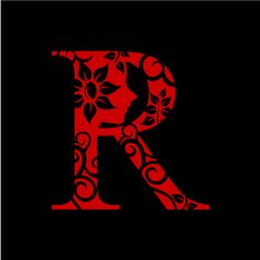 Graphic Design of Flower Clipart - Red Alphabet R with Black Background