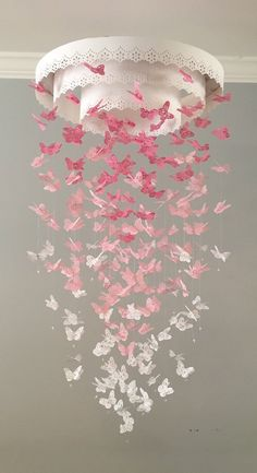 The Original Paper Lace Chandelier Monarch Butterfly Mobile Pink Nursery Mobile Baby Mobile Mobile Photo Prop Butterfly Mobile Paper Lace, Paper Flowers, Paper Butterflies, Butterfly Mobile, Monarch Butterfly, Butterfly Nursery, Butterfly Wall, Flower Mobile, Butterfly Drawing