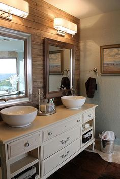 Rustic plank wall in bathroom. The darker colored wood makes a nice accent wall behind the vanity