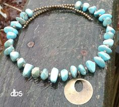 handmade jewelry design Large Nugget Turquoise Magnesite Gemstone and Antique Brass Memory Wire Necklace