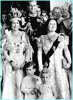 Queen Elizabeth II with her Husband Prince Phillip, Queen Mother and children Prince Charles and Princess Anne after the Queen's coronation. She is wearing the coronation crown.
