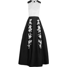 Erdem Green Carpet Challenge: Mildred embroidered silk-blend gown (9,955 CAD) ❤ liked on Polyvore featuring dresses, gowns, long dresses, erdem, black, green ball gown, long green evening dress, black pleated dress e long black dress