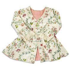 Caraco/jacket, c18th century (1770s?), Sweden. Cream silk brocaded with multicolored floral motifs, fabric trimming, pink silk lining. For back, see other pin.