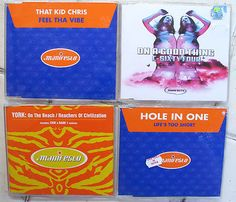 4x MANIFESTO Records UK maxi singles by YORK, C-SIXTY FOUR, HOLE IN ONE & THAT KID CHRIS, 1997-2005