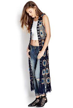 Retro Girl Crocheted Vest http://picvpic.com/women-coats-jackets-vests/forever21-retro-girl-crocheted-vest#Navy~taupe