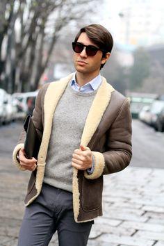 Patrizia Pepe shirling jacket  Rifle jeans  H sweater  Hackett London shirt  Cesare Paciotti shoes  Vincent Couture silver cow bag