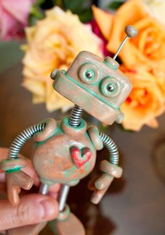 Patina Paul Garden Robot Sculpture  by RobotsAreAwesome, $45.00