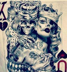 The shit couple tattoos, new tattoos, skull tattoos, future tattoos, lo Chicano Tattoos, Chicano Art, Skull Tattoos, Body Art Tattoos, New Tattoos, Sleeve Tattoos, Poker Tattoos, Future Tattoos, Tattos