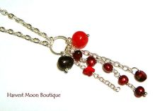 Cascading Pendant Silver Necklace Red Beaded Swarovski Crystal Artisan Jewelry by Angie Pinkal Unique One of a Kind Wedding Bridal Prom by AngiePinkal