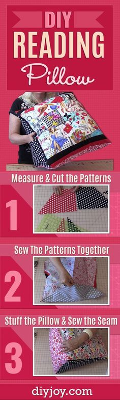 DIY Reading Pillow - Easy Sewing Project with Step by Step Tutorial and Video - Free Sewing Pattern and How To - Cute DIY Gift and Home Decor Idea - DIY Projects and Crafts for Women