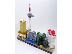 Las Vegas by jaybattikha.  The models are nicely detailed and immediately recognizable, but they are far too large, and therefore crowded to fit into a skyline shape.  It's not easy to make things even smaller, but that's what needs to happen here.