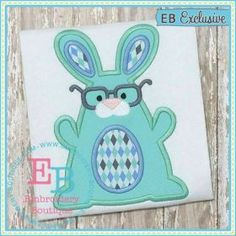 Bunny with Glasses Applique