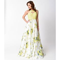 Yellow Floral Print Sleeveless Halter Long Dress ($253) ❤ liked on Polyvore featuring dresses, gowns, halter prom dresses, white gown, yellow prom dresses, white prom dresses and white ball gowns
