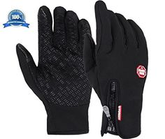 Mcolics Winter Outdoor Windproof Cycling Glove Touchscreen Gloves for Smart Phone (Black1, M)