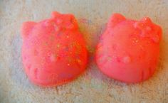Fun mini soaps for the kids! Strawberries & Cream mini soaps.  You get 3 soaps.  They are 1.5 each.  About 2 inches tall and wide.  Handmade Soap made with coconut oil, olive oil, palm oil, cocoa butter, water, lye, mineral mica powder (color), and fragrance oil.  Very moisturizing! Topped with...