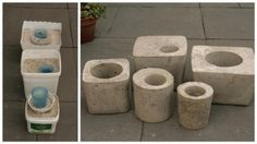 How to make concrete garden projects like concrete planters and stepping stones. Test projects from the book, Concrete Garden Projects. Diy Concrete Planters, Concrete Crafts, Concrete Art, Concrete Garden, Concrete Projects, Diy Planters, Garden Planters, Cement Pots, Succulent Planters