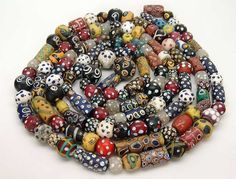 Antique Venetian beads from the African trade. Ethnic Jewelry, Beaded Jewelry, Jewellery, Polymer Beads, Decorative Beads, African Trade Beads, Fabric Beads, Ancient Jewelry, Beads And Wire