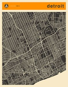 Poster | DETROIT MAP von Jazzberry Blue | more posters at http://moreposter.de