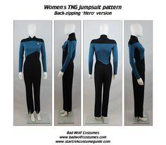 Star Trek Sewing Pattern - TNG Jumpsuit - The Next Generation Starfleet Uniform (Women's) Star Trek Outfits, Star Trek Dress, Sewing Tutorials, Sewing Patterns, Sewing Tips, Science Dress, Trio Halloween Costumes, Star Trek Uniforms, Star Trek Cosplay
